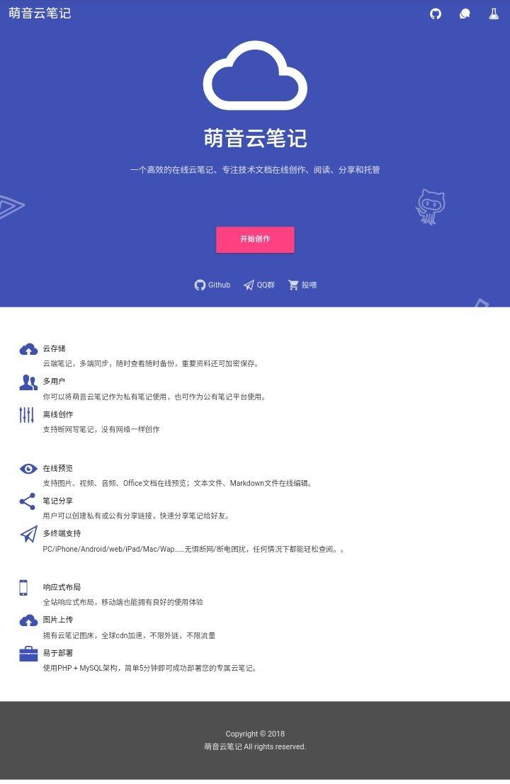 萌音云笔记:在线云笔记开源项目(转)
